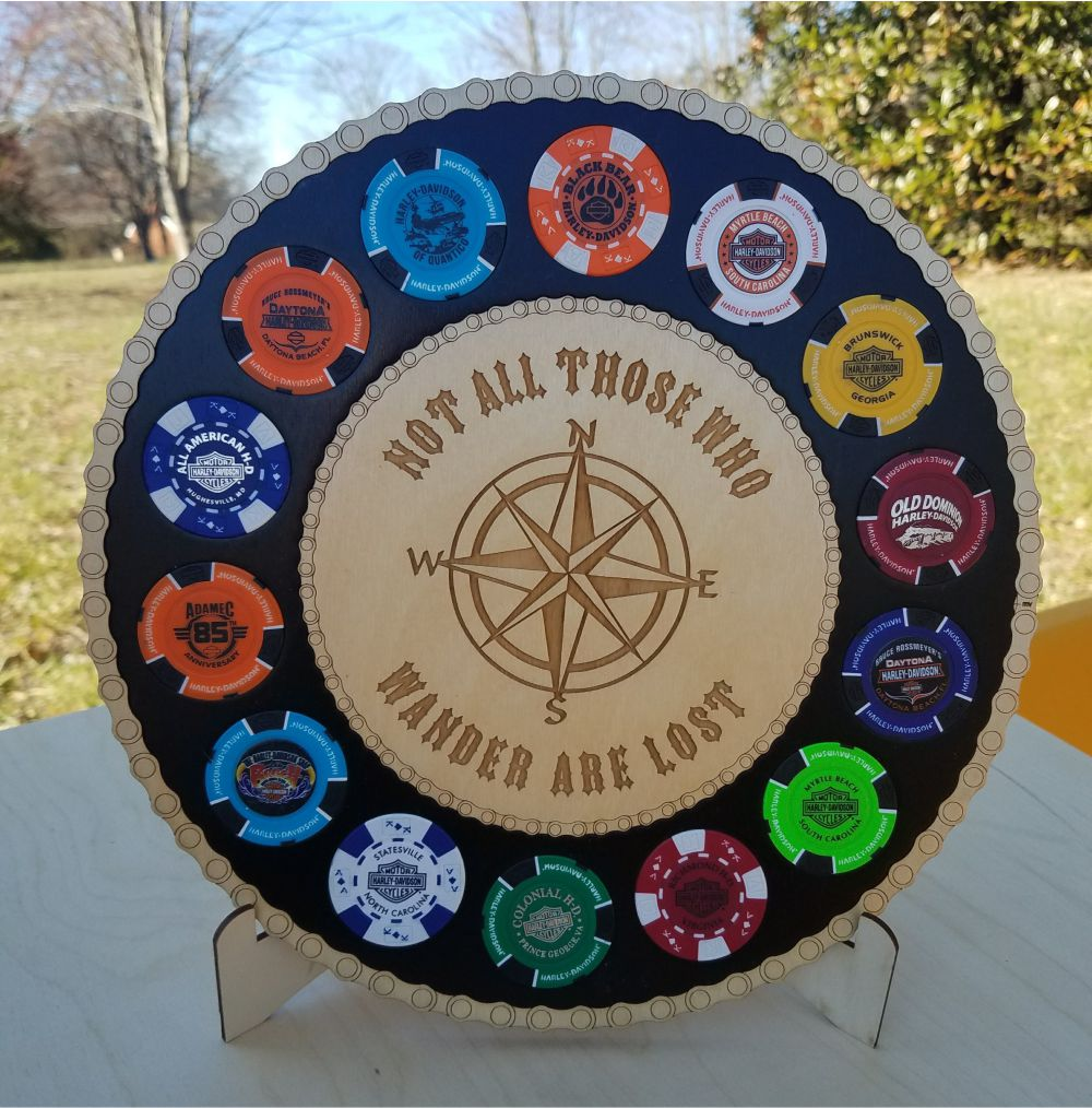 Large Compass Poker Chip Display