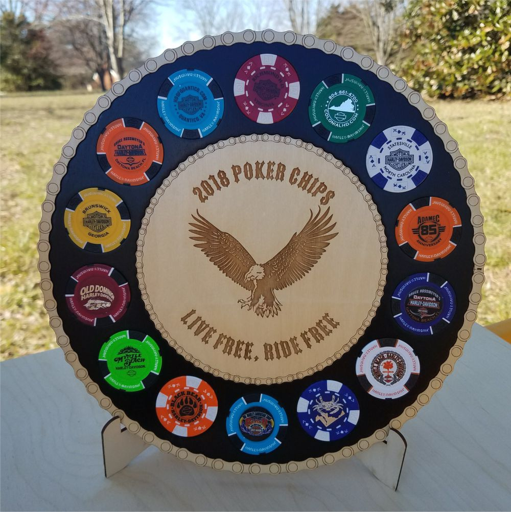 Large Eagle Poker Chip Display