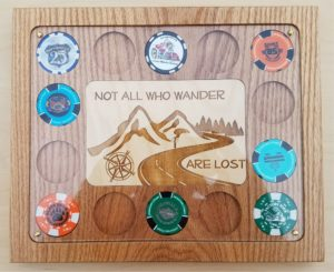 Solid Oak Poker Chip Display 14 Chips with 4x6 Not all who wander are lost Landscape
