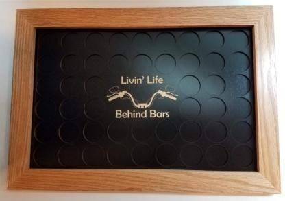 Livin Life Behind Bars 11x17 Poker Chip Display 48 Chips Black on Black