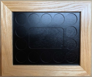 8x10 Poker Chip Display with Oak Frame Black 3x5 Photo Cut Out