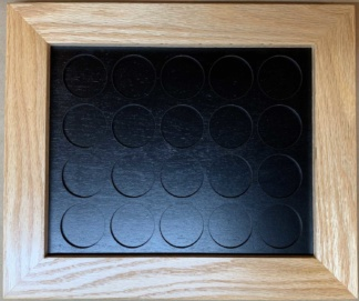 8x10 Poker Chip Display with Oak Frame Black All Chips 20