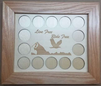 8x10 Poker Chip Display with Oak Frame Natural Live Free Ride Free