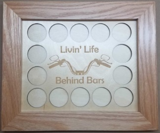 8x10 Poker Chip Display with Oak Frame Natural Livin Life Behind Bars